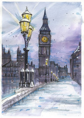 London streetview, Watercolor with markers artwork.