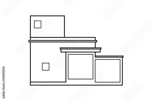 Abstract Outline Drawing Modern House Or Building Square Shape