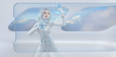 Futuristic girl working with virtual screen and holographic hud media technologies for business