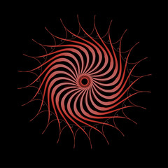 Abstract spirograph art , parabolic curve of line in circle form illustration. Vector image.Round pattern color on black background.