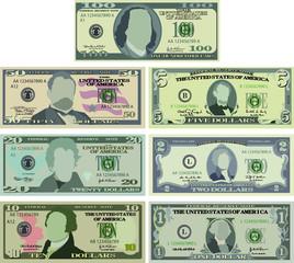US dollar banknote set