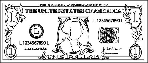 1 US dollar banknote outline