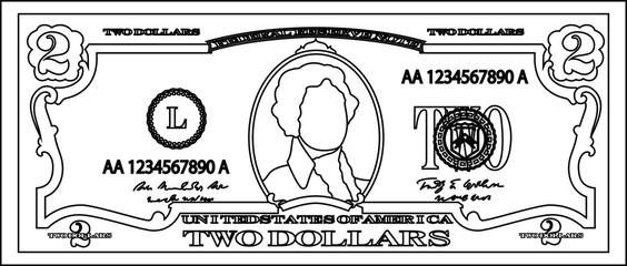 2 US dollar banknote outline