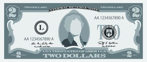 Monochrome 2 US dollar banknote