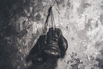 Boxing gloves on dark background