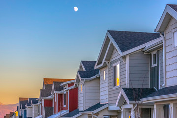 Moon above Townhomes at sunset in Utah Valley Wall mural