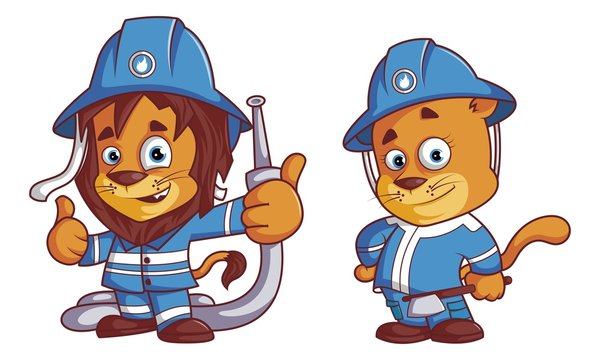 Vector cartoon illustration of lion and lioness as firefighter. Isolated on white background.
