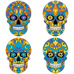Day of The Dead Skull with floral ornament. Mexican sugar skull set. Vector illustration