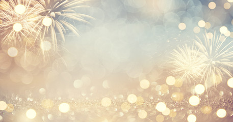 Fototapete - Gold Vintage Fireworks and bokeh in New Year eve and copy space. Abstract background holiday.