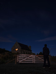 Church of the Good Shepherd at Lake Tekapo during midnight