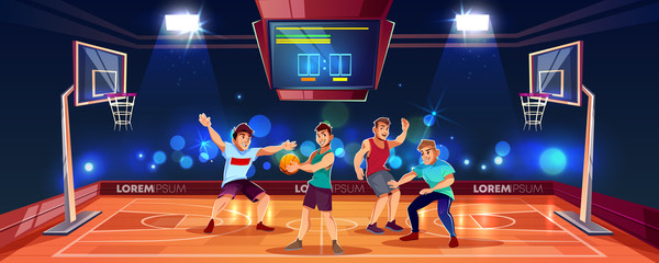 Vector cartoon background with sports people playing team game on basketball arena. Indoor playground in spotlights with electronic scoreboard, backboards with rings and baskets, players with ball