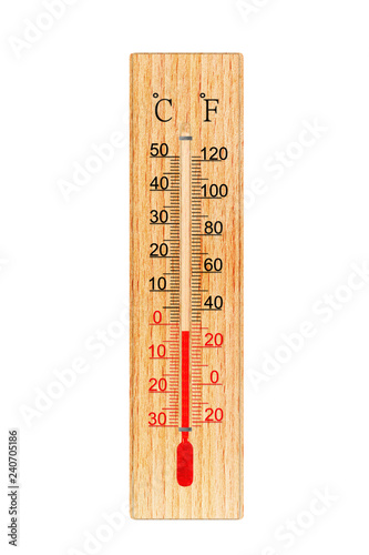 Wooden Thermometer Isolated On White Background Thermometer Shows Air Temperature Minus 2 Degrees Celsius Or