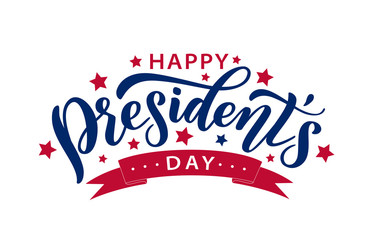 Happy Presidents Day with stars and ribbon. Vector illustration Hand drawn text lettering for Presidents day in USA. Script. Calligraphic design for print greetings card, sale banner, poster. Colorful Fotomurales