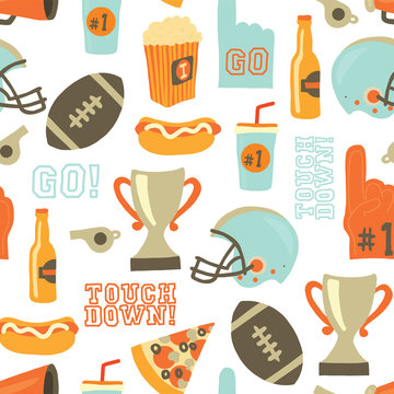 American Football seamless vector pattern. Helmet, trophy, beer, foam finger, fast food, go and touch down lettering. Vintage style background. For tailgate party, super bowl invitation, flyer, decor.