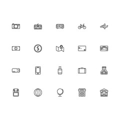 Top 20 Simple Set of Tour and Travel Related Vector Line Icons. Contains such Icons as Transportation, Backpack, Hotel, and more. Editable Stroke. Pixel Perfect.