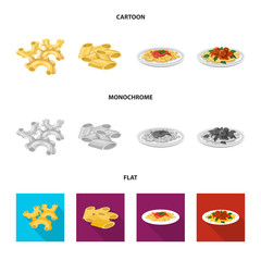 Isolated object of pasta and carbohydrate symbol. Set of pasta and macaroni stock symbol for web.