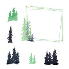 Watercolor set. Happy New Year congratulation greeting card. Frame for logo with trees