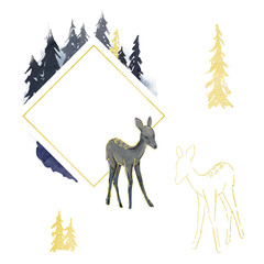 Watercolor set. Happy New Year congratulation greeting card. Frame for logo with deer