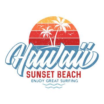 Hawaii Sunset Beach - Tee Design For Printing