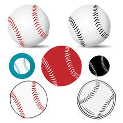 Baseball ball realistic, logo, icon in white leather with red black stitches. Vector illustration.