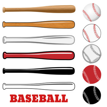 Baseball and baseball bat isolated on white background. Vector illustration.