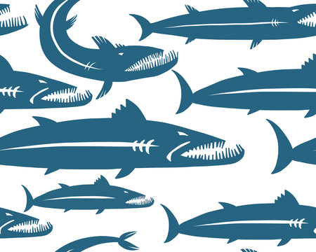 Barracuda fish, seamless pattern for your design