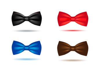 Vector silk black bowtie in polka dots. Isolated on white background