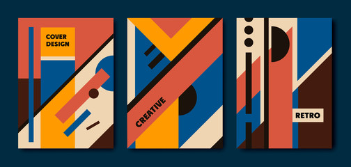 Vector set of retro bauhaus geometric covers. Use for placards, brochures, posters, banners. Blue, red, yellow,