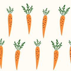 Vector seamless fruit pattern. Carrot. Scandinavian style, cute print