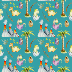 Watercolor  baby dinosaurs among volcanoes and palm trees seamless pattern