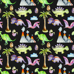 Watercolor prehistoric dinosaurs among volcanoes and palm trees seamless pattern