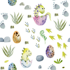 Watercolor cute baby dinosaurs in eggs seamless pattern