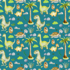 Watercolor cute dinosaurs and prehistoric turtles seamless pattern