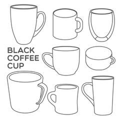 BLACK COFFEE CUP Collections of coffee cups in different shapes.