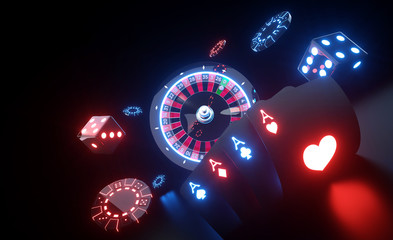 Casino Gambling Concept With Futuristic Neon Lights - 3D Illustration Wall mural