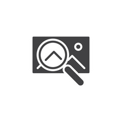 Image search vector icon. filled flat sign for mobile concept and web design. Gallery image and magnifier simple solid icon. Symbol, logo illustration. Pixel perfect vector graphics