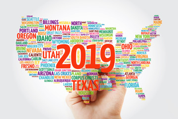 2019 year USA Map word cloud with marker, most important cities background