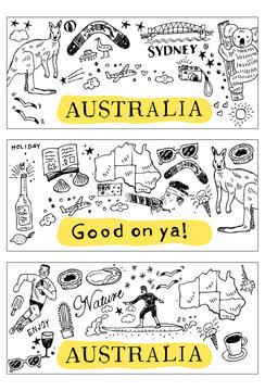 Hand drawn Australia doodle, sketch style, Vector Illustration