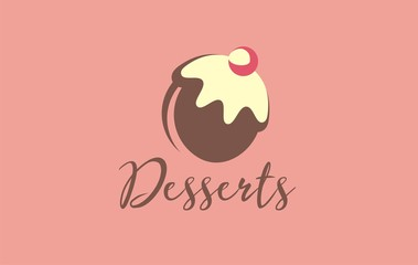 Sweets logo vector. Discover sweetness in your favorite delicious. Desserts candy shop symbol, sign, pic, design.