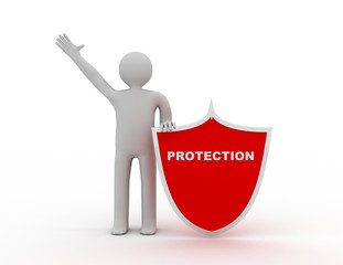 3d man and shield. Protection concept
