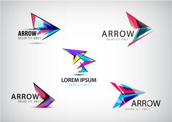 Vector set of abstract arrow logos, pointer