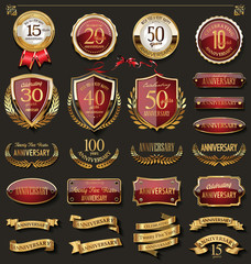 Collection of elegant red and gold anniversary badges and labels design elements