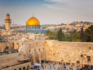 The Temple Mount - Western Wall and the golden Dome of the Rock mosque in the old town of Jerusalem, Israel