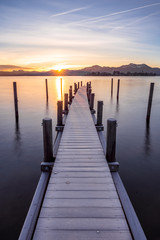 Beautiful sunrise at lake Chiemsee