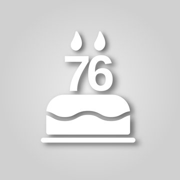 Birthday cake with candles in the form of the number 76 figure cut out of paper icon. Happy Birthday concept symbol design. Stock - Vector illustration can be used for web.