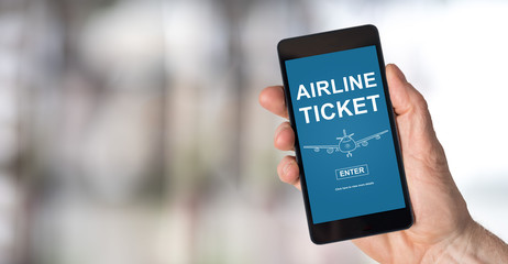 Airline ticket concept on a smartphone