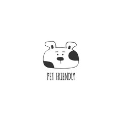 Vector hand drawn pet friendly sign, head of a dog.