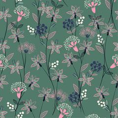 Beautiful vintage Wild wind blow flowers with hand drawing line seamless pattern in vector for fashion fabric and all prints