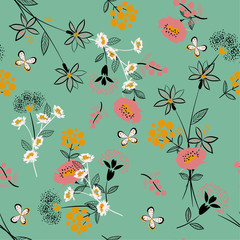 Pastel softy and gentle floral seamless pattern vector in hand drawn sketch and line style for fashion fabric