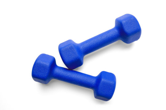 Blue dumbbells isolated on white background with clipping-path